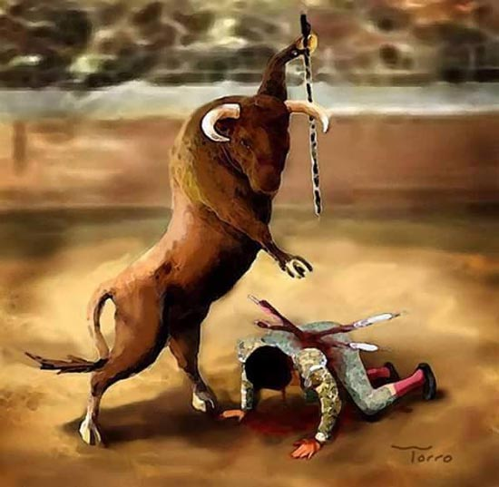 anti bull fighting image